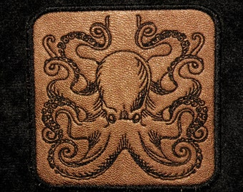 Cowhide Leather Octopus Iron on Patch 3 1/2""