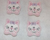 Feltie Machine Embroidered Hand made (4) Felt Kitty Cat CUT Embellishments / appliques