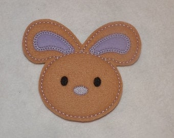 Ready to Ship Extra Large 4 X 3 1/2 Machine Embroidered Hand made  Felt Bunny Embellishment / applique