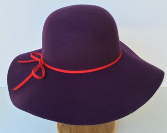 100 Percent  Wool Plain Floppy Sun Hat purple (15.5 inches full length)
