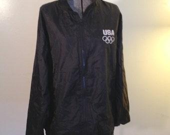 USA Olympic Mesh Lined Windbreaker Black XL