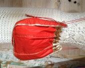 CHARLES JOURDAN French VTG 70s red fabric and gold leather purse / clutch/ bucket bag