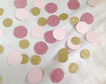 Blush Pink Gold and Rose Glitter circles Confetti - 200 pieces. Circle Confetti
