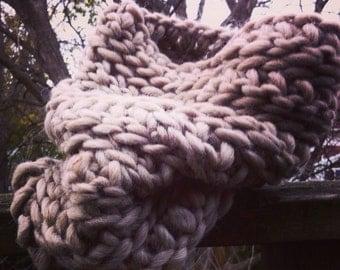 Oatmeal Chunky Crochet Cowl - Tube Scarf
