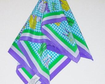 Vintage Silk Scarf Blue Novelty Print Clothing Retro Fashion Head Scarf Neck Purse Kerchief Scarf Accessory