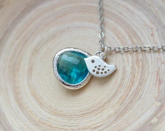 Blue Zircon Necklace, Silver Bird on a Silver Filled Chain, Blue Zircon Teardrop Glass Stone Pendant Necklace, Gift or Wedding Jewelry, Gift