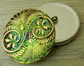 Czech Glass Buttons 32mm Tree Sprites Green Gold Gorgeous