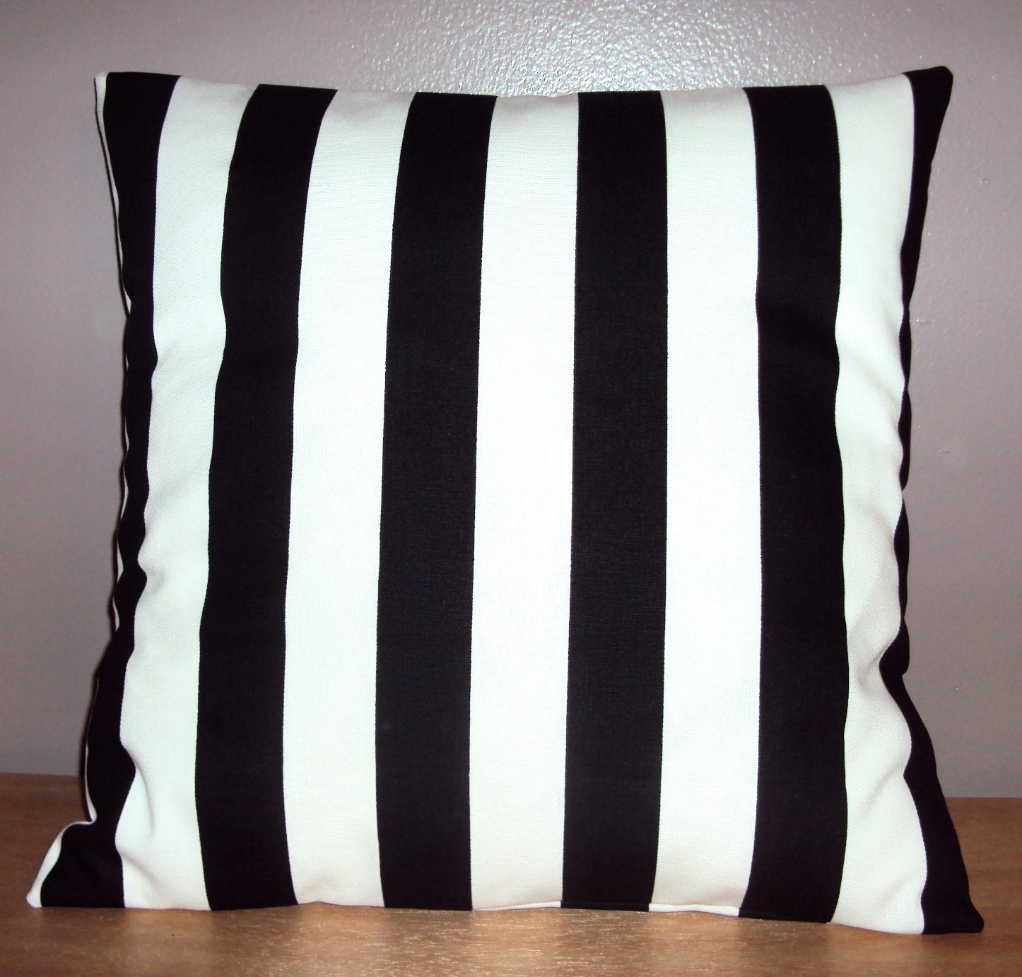 Black Stripe Throw Pillow : Black and White Stripe Decorative Pillow Cover Available In