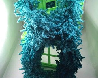 Women's Teal Scarf, Knit Scarf, Teal Knit Scarf, Handmade, Knitted, Teal Scarf, Acrylic Yarn Scarf