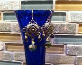 FABULOUS Filigree Focal Chandelier Dangling Iridescent Beads Shimmer Sparkle Feel Fancy Feminine Elegant Strikingly Beautiful Gift for Her