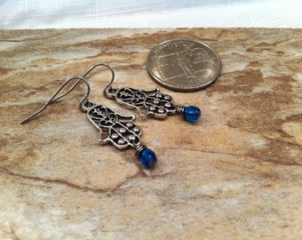 Fashionable CHAMSA earrings with Fancy Filigree Designs Bat Mitzvah Gift * Birthday * Trendy * Czech Beads Dangling