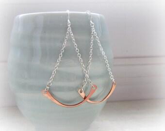 Hammered Copper Earrings, Chandelier Earrings, Mixed Metal Earrings, Southwestern Jewelry, Hoop Earrings, 2 Tone Earrings