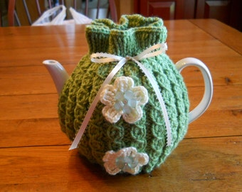 Teapot Cozy  Knitted in Green Mock Cable Design with Cream Color Flower and Novelty Buttons