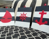 Nautical Nursery Decor Sailboat Anchor and Captains Wheel Navy and White Stripes Navy and Red - set of 3 8x10 Red Whtie and Blue paintings