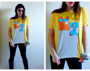 Adorable Yellow T Shirt w/ Vespa & Beach Sailboat Scene- Medium, Scooter, Sailing, Vintage 80s Top, Blouse, Teal, Sequin