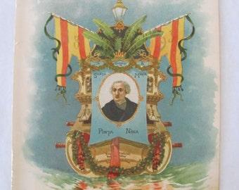 RARE 1892 Columbus Ship Lithograph by Victor A. Searles