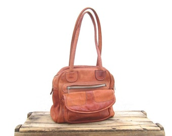 70s Satchel Tote Cognac Rugged Leather Handbag