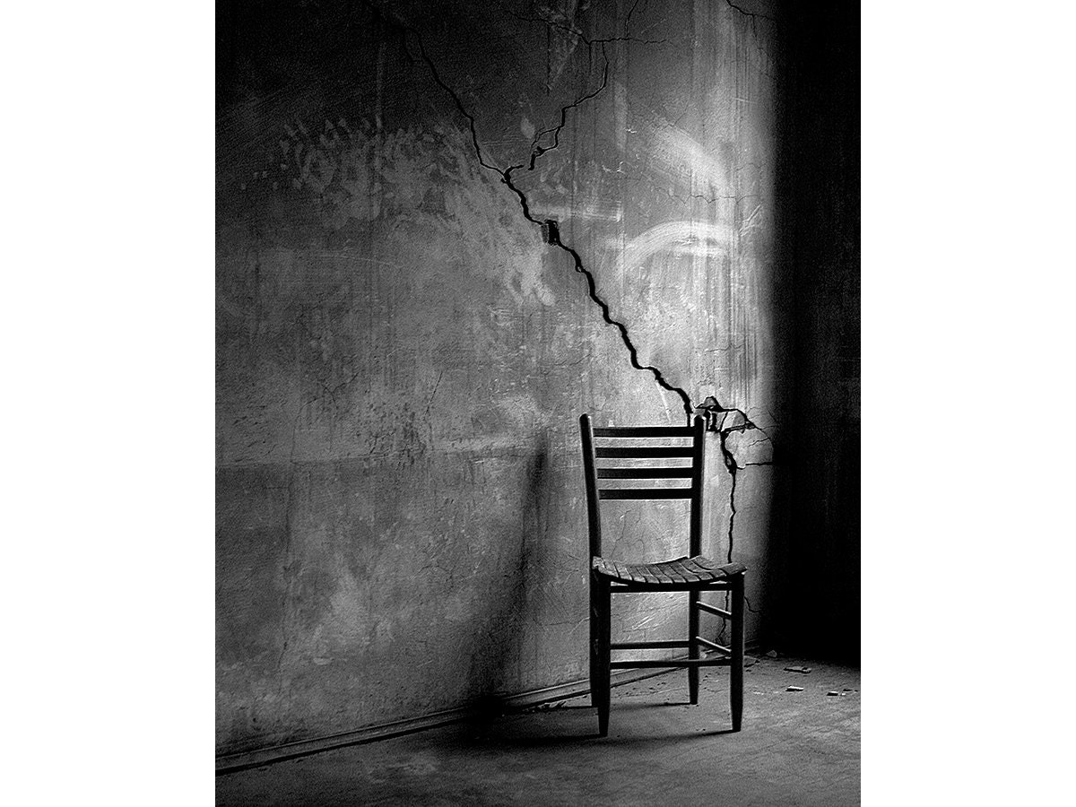 Black and white chair photography - Fine Art Black And White Still Life Photo Print Photography Chair Wall Crack Hand Prints Urban Warehouse Modern 8x10 Creepy