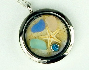 Birthday Jewelry Birthstone Necklace Ocean Memory Locket GENUINE Sea Glass Jewelry