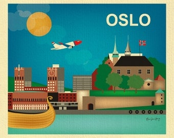 Oslo Skyline Print, Norway Travel Wall Art Print, Oslo Gift,  Horizontal Oslo, Blue Scandinavian wall decor, Loose  Petals, style - E8-O-OSL