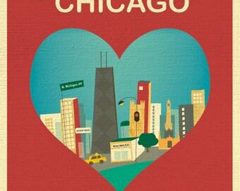 Chicago Skyline Art Heart Print, Chicago Wall Art, Chicago Wedding Print, Chicago Baby, Vertical  Loose Petals City Print, style E8-O-CHI4