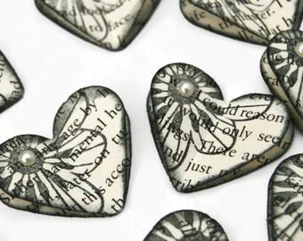 x10 Vintage Inspired Book Heart Embellishments Black