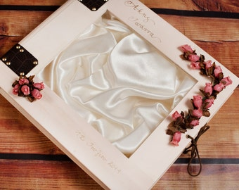 Wedding Stefana Case - Natural wood with pink roses