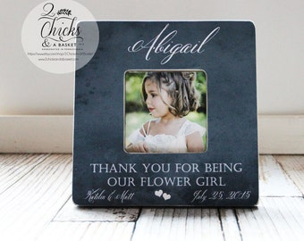 Thank You For Being Our Flower Girl Personalized Picture Frame,  Flower Girl Gift, Wedding Keepsake