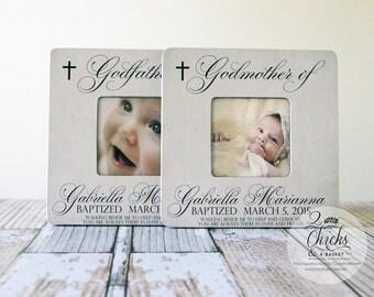 Godparent Gift, Personalized Baptism Picture Frame (Set of 2), Godmother & Godfather Frames, Baptism Gift Idea, Godparent Picture Frame