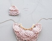Sale - Crochet Collar Jabot in Pale Pink and matching earrings - 35% off