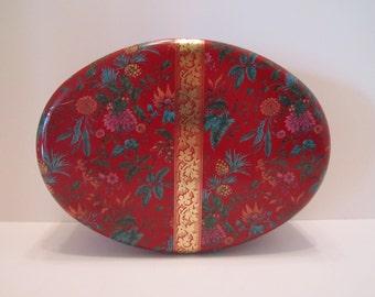 Marks and Spencer Vintage Decorative Oval Tin - Baker Street London England -Chintz Design Red Floral