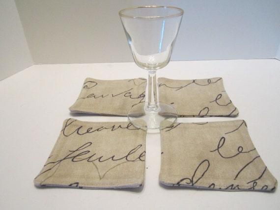French Script on PenPal Waverly Fabric Coasters Mug Rugs Set of 4