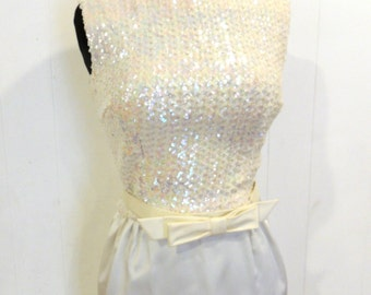 vintage sequined ball gown - 1950s white satin sequin-top evening gown formal dress