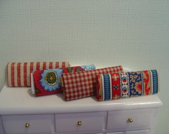 Dollhouse Miniature 4 Bolts of Fabric blue red One Twelfth Scale