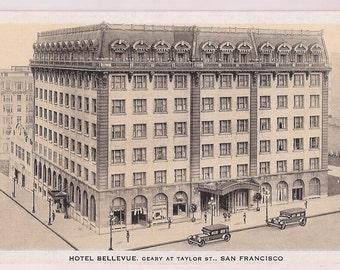 San Francisco Postcard Hotel Bellevue California Postcard - California Vintage Postcard Sepia Tones Hotel Memorabilia
