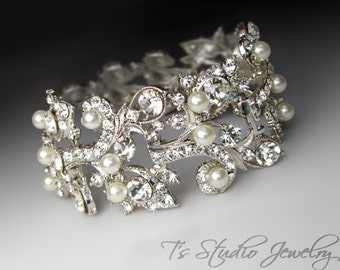 Silver Pearl Cuff Bridal Bracelet with Rhinestones and Crystals - White or Ivory Pearls - DENISE