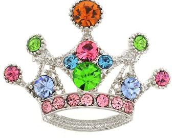 Multicolor Crown Brooch 1004201