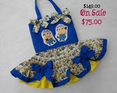 SALE 50% off  -Toddler Party-Pageant Dress Featuring the Adorable Minion in Bright Blue and Yellow, Size 18 month, Ready to Ship