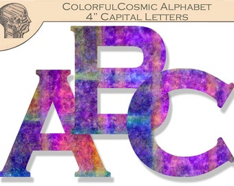 Digital Colorful Cosmic Alphabet Capital Letters Banner Colorful Letters Sign Making 4 Inch Letters Instant Download Printable ABC