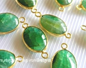 Green Agate Gemstone Bezel Connector, Oval Connector Gold plated Edge agate for jewelry making -JSL-4488