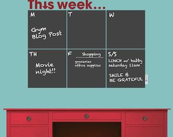 THIS WEEK... Weekly Calendar - Chalkboard wall decals