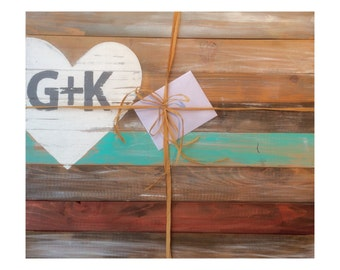 Wedding Guestbook Alternative - Custom Colors and Initials - Ready to Hang