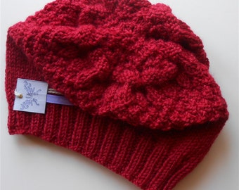 Red Slouchy Beanie Hat Knitted Cherry Red Loose Fit Unisex Beanies Hats Hand Knit Fashion Handmade Knit Hats Accessories Gifts