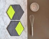 hexagon cotton potholders - neon yellow and grey honeycomb shape potholders - hexie hot pads - modern kitchen potholders - housewarming gift
