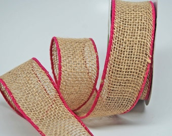 Burlap with Colored Edge Ribbon -- 2 inch -- Fuchsia Natural  Brown-- 2 yards