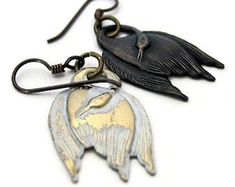 SWAN LAKE white swan earring black swan earring ballet jewelry dance jewelry unique earrings ballet earrings Odile Odette Tchaikovsky