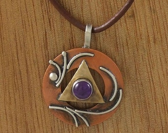 Recovery, 12 step, unity pendant, mixed metals, copper, sterling, brass, amethyst, Regina Marie Designs