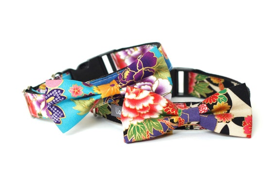 Kimono dog cat collar with bowtie for family photo, wedding and everyday run! Japanese dog collar, kimono dog bow tie, japanese bow tie