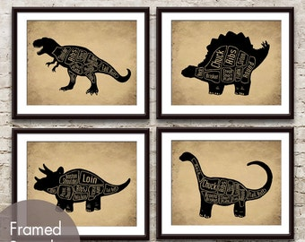 Dinosaur Butcher Diagram Series D - Set of 4 Art Prints (Featured in (Featured in Black animal on Cork Board) Prehistoric Animal Art Prints
