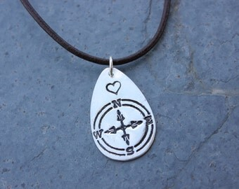 Follow Your Heart Necklace - handmade fine silver compass charm on leather cord - Do what you love - free shipping USA